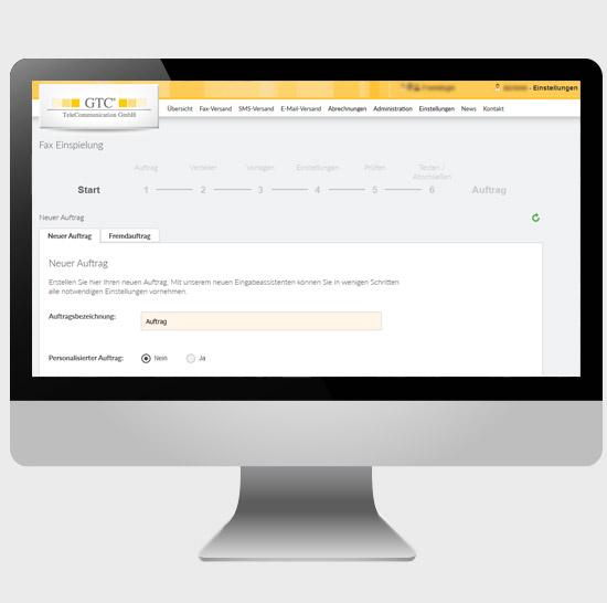 Fax-Mailing: Vorbereitung im geschützten Kundenbereich